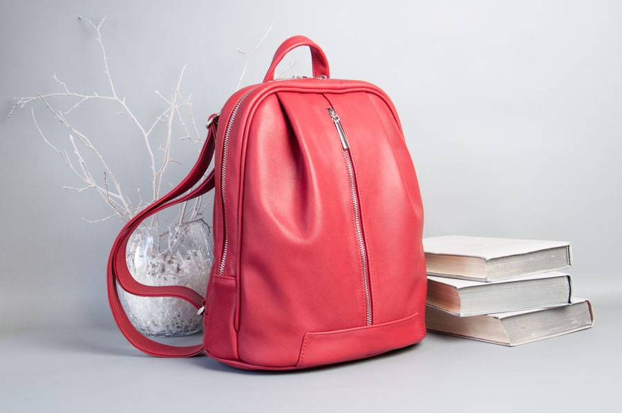 Monik Leather Backpack red