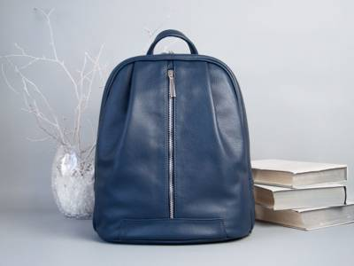 Monik Leather Backpack blue