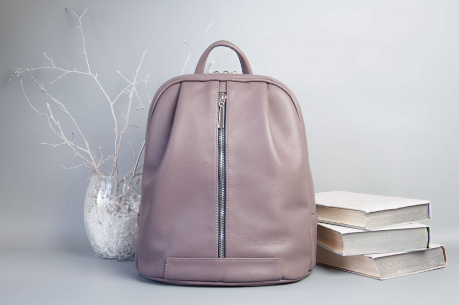 Monik Leather Backpack dusty pink 1