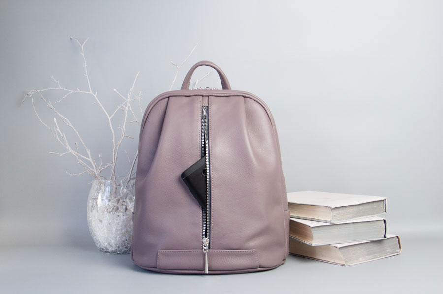 Monik Leather Backpack dusty pink 3