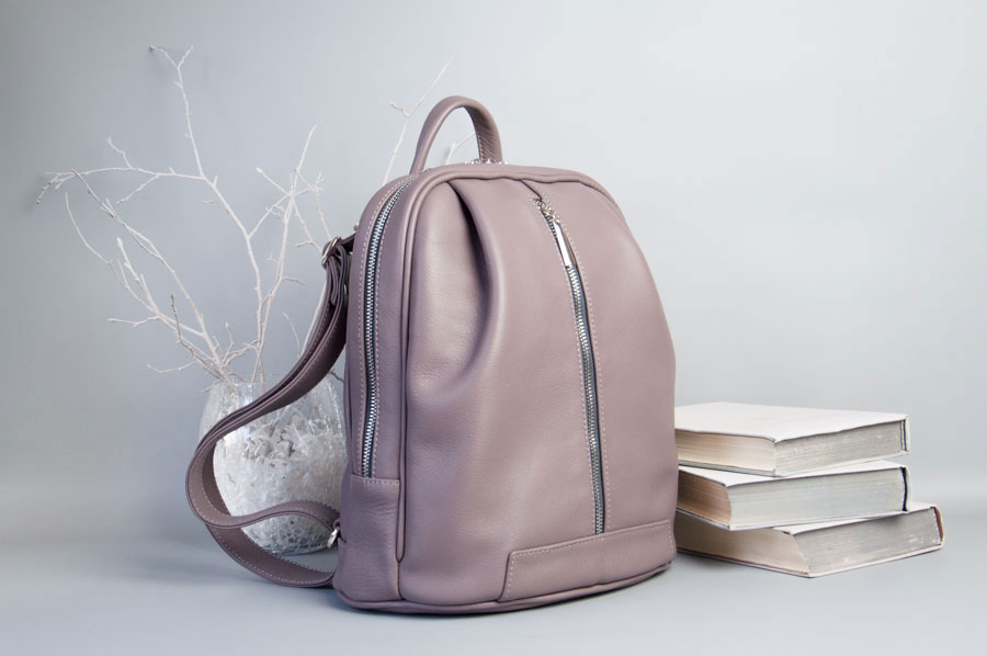 Monik Leather Backpack dusty pink 4